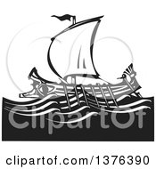 Clipart Of A Black And White Woodcut Ancient Greek Galley Ship Royalty Free Vector Illustration