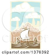 Clipart Of A Woodcut Ancient Greek Galley Ship And A Coastal Village Royalty Free Vector Illustration