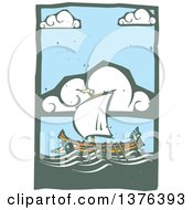 Clipart Of A Woodcut Ancient Greek Galley Ship Under A Cloudy Sky Royalty Free Vector Illustration