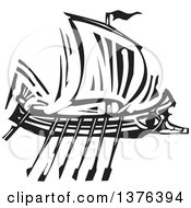 Clipart Of A Black And White Woodcut Ancient Greek Galley Ship Royalty Free Vector Illustration by xunantunich