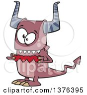 Cartoon Valentine Monster Holding A String Of Red Paper Hearts