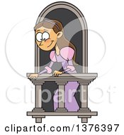 Clipart Of A Cartoon Brunette White Woman On A Balcony Playing Juliet Royalty Free Vector Illustration by toonaday