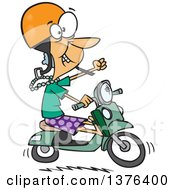Clipart Of A Cartoon Adventurous White Granny Riding A Scooter Royalty Free Vector Illustration