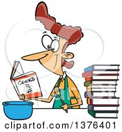 Cartoon Brunette White Woman Learning To Cook With Books