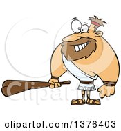 Clipart Of A Cartoon Hercules Holding A Club Royalty Free Vector Illustration