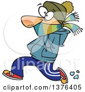Clipart Of A Cartoon Caucasian Man Bundled Up And Running In The Cold Royalty Free Vector Illustration by Ron Leishman