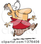 Clipart Of A Cartoon Eager White Man Running Royalty Free Vector Illustration