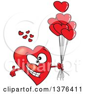 Clipart Of A Cartoon Romantic Red Love Heart Character With Open Arms And Balloons Royalty Free Vector Illustration by toonaday
