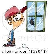 Cartoon Worried White Boy Standing Next To A Window Broken By A Baseball