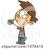 Clipart Of A Cartoon Happy White Boy Adjusting A Household Thermostat Royalty Free Vector Illustration by Ron Leishman