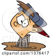 Clipart Of A Cartoon Depressed White Boy Stuck In A Puddle Of Mud Royalty Free Vector Illustration by toonaday