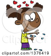 Clipart Of A Cartoon Happy Black Girl Playing He Loves Me Loves Me With Flower Petals Royalty Free Vector Illustration by toonaday
