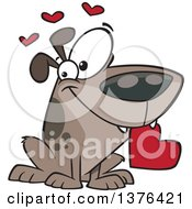Clipart Of A Cartoon Sweet Loving Dog Holding A Red Valentine Heart In His Mouth Royalty Free Vector Illustration by toonaday
