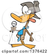 Clipart Of A Cartoon Funny Duck Telling Jokes Royalty Free Vector Illustration by toonaday