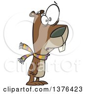 Clipart Of A Cartoon Worried Groundhog Wearing A Scarf Royalty Free Vector Illustration by toonaday