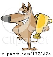Clipart Of A Cartoon Proud Dog Champion Holding A Gold Trophy Royalty Free Vector Illustration