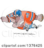 Clipart Of A Cartoon Tough Rhino Fooball Player Running Royalty Free Vector Illustration