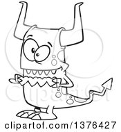 Cartoon Black And White Valentine Monster Holding A String Of Paper Hearts