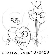 Clipart Of A Cartoon Black And White Romantic Love Heart Character With Open Arms And Balloons Royalty Free Vector Illustration