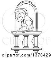 Clipart Of A Cartoon Black And White Woman On A Balcony Playing Juliet Royalty Free Vector Illustration