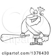 Cartoon Black And White Hercules Holding A Club