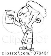 Clipart Of A Cartoon Black And White African School Boy Holding Up A Beaker In Science Class Royalty Free Vector Illustration