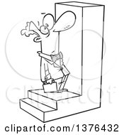 Cartoon Black And White Business Man Looking Up At A Big Step