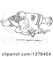 Clipart Of A Cartoon Black And White Tough Rhino Fooball Player Running Royalty Free Vector Illustration by toonaday