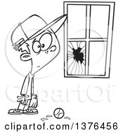 Poster, Art Print Of Cartoon Black And White Worried Boy Standing Next To A Window Broken By A Baseball
