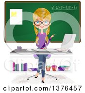Blond Caucasian Female Teacher Sitting At A Desk In Front Of A Chalk Board