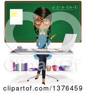 Clipart Of A Female Indian Teacher Sitting At A Desk In Front Of A Class Room Royalty Free Vector Illustration