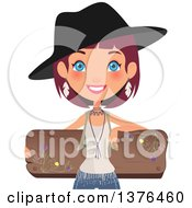Happy Blue Eyed Red Haired Caucasian Boho Chic Woman Leaning Back On A Floral Wood Sign