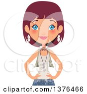 Clipart Of A Happy Blue Eyed Red Haired Caucasian Boho Chic Woman Standing With Her Hands On Her Hips Royalty Free Vector Illustration