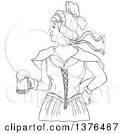 Clipart Of A Black And White Lineart Styled Retro Victorian Beer Maiden Holding A Mug Royalty Free Vector Illustration