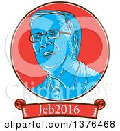 Clipart Of A Retro Sketched Portrait Of Jeb Bush With Text Royalty Free Vector Illustration
