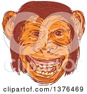 Clipart Of A Sketched Happy Chimpanzee Face Royalty Free Vector Illustration