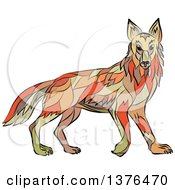 Clipart Of A Colorful Sketched Mosaic Alert Coyote Royalty Free Vector Illustration