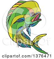 Clipart Of A Colorful Sketched Mosaic Jumping Dolphin Fish Royalty Free Vector Illustration