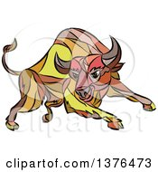 Clipart Of A Colorful Sketched Mosaic Angry Charging Bull Royalty Free Vector Illustration