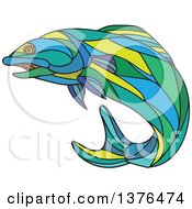 Clipart Of A Colorful Sketched Mosaic Jumping Atlantic Salmon Fish Royalty Free Vector Illustration