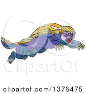 Clipart Of A Colorful Sketched Mosaic Attacking Honey Badger Royalty Free Vector Illustration