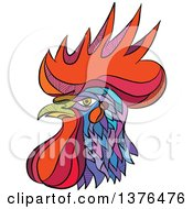 Clipart Of A Colorful Sketched Mosaic Rooster Head Royalty Free Vector Illustration