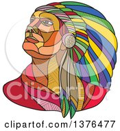 Colorful Sketched Mosaic Native American Indian Chief Wearing A Feather Headdress And Looking Off To The Side