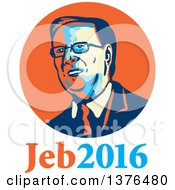 Clipart Of A Retro Portrait Of Jeb Bush With Text Royalty Free Vector Illustration by patrimonio