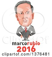 Clipart Of A Caricature Of Marco Rubio Over Text Royalty Free Vector Illustration