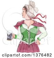 Watercolor Styled Retro Victorian Beer Maiden Holding A Mug