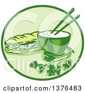 Clipart Of A Retro Woodcut Styled Meal Of Banh Mi Rice And A Meat Sandwich In A Circle Royalty Free Vector Illustration