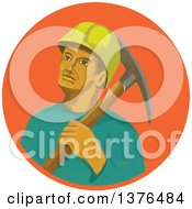 Clipart Of A Retro Watercolor Styled Coal Miner With A Pick Axe Over His Shoulder In An Orange Circle Royalty Free Vector Illustration
