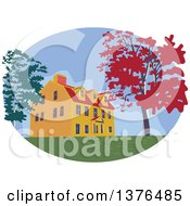 Clipart Of A Retro Wpa Styled Colonial House And Autumn Trees In An Oval Royalty Free Vector Illustration by patrimonio