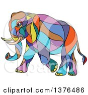Clipart Of A Colorful Mosaic Walking Elephant Royalty Free Vector Illustration